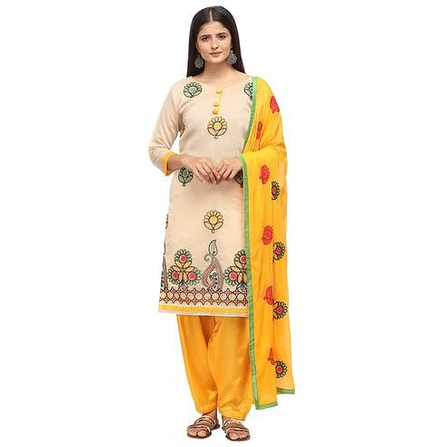 Blissful Beige Colored Casual Wear Embroidered Chanderi Cotton Dress Material