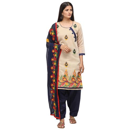 Ideal Beige Colored Casual Wear Embroidered Chanderi Cotton Dress Material