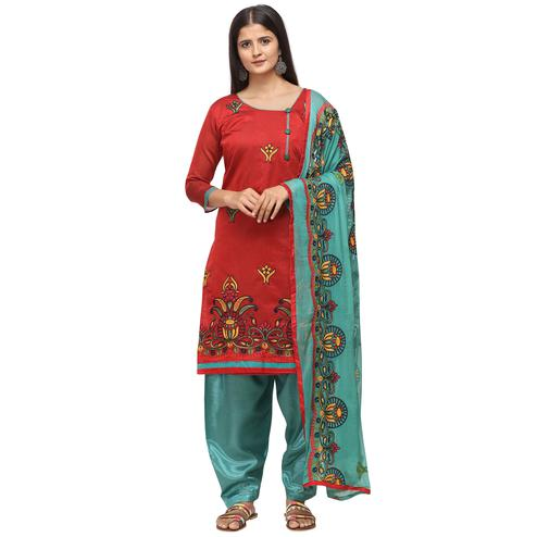 Imposing Red Colored Casual Wear Embroidered Chanderi Cotton Dress Material