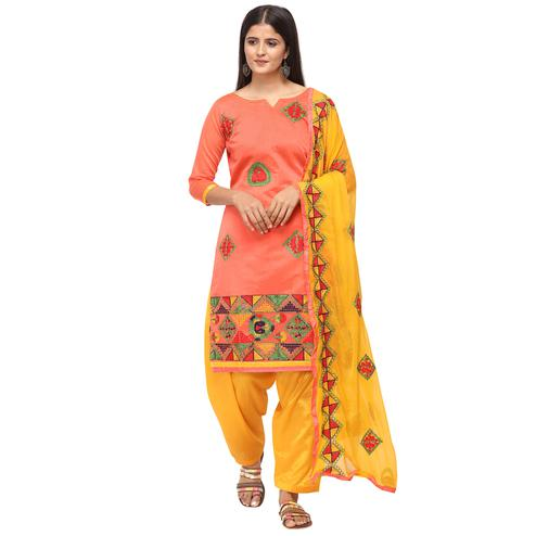 Majesty Peach Colored Casual Wear Embroidered Chanderi Cotton Dress Material