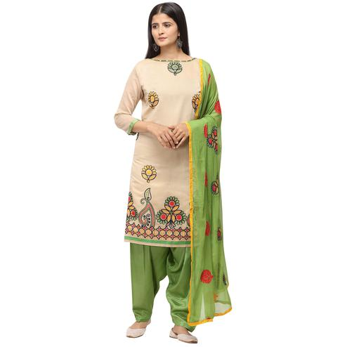 Impressive Beige Colored Casual Wear Embroidered Chanderi Cotton Dress Material