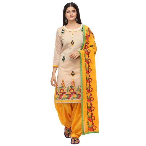 Pleasant Beige Colored Casual Wear Embroidered Chanderi Cotton Dress Material