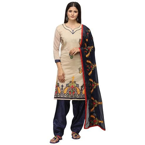 Opulent Beige Colored Casual Wear Embroidered Chanderi Cotton Dress Material