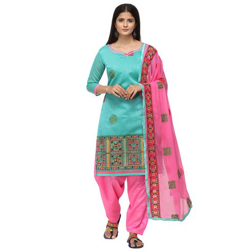 Glowing Sky Blue Colored Casual Wear Embroidered Chanderi Cotton Dress Material
