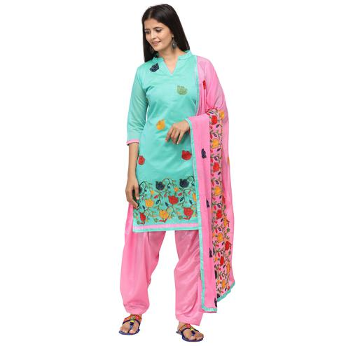 Exceptional Sky Blue Colored Casual Wear Embroidered Chanderi Cotton Dress Material