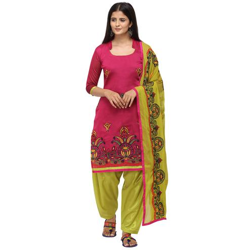 Gleaming Rani Pink Colored Casual Wear Embroidered Chanderi Cotton Dress Material