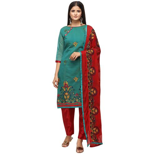 Unique Teal Green Colored Casual Wear Embroidered Chanderi Cotton Dress Material