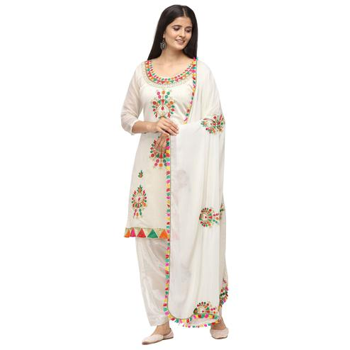 Magnetic White Colored Casual Wear Embroidered Chanderi Cotton Dress Material