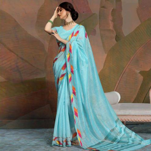 Imposing Sky Blue Colored Festive Wear Woven Linen Saree
