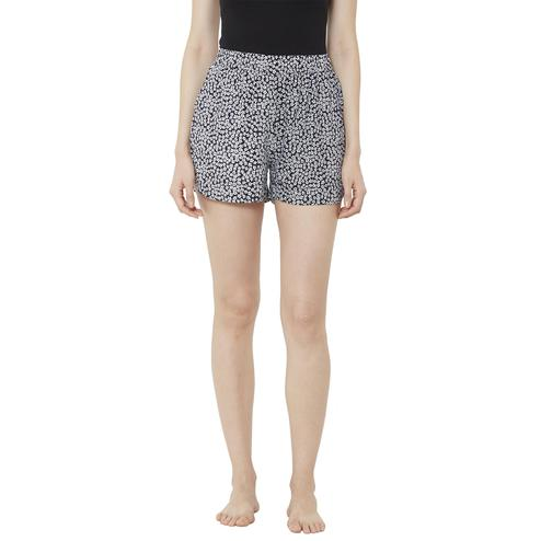 Mystere Paris - Black White Colored Pretty Floral Rayon Sleep Shorts