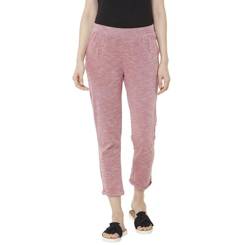 Mystere Paris - Maroon White Colored Stylish Textured Cotton Lounge Pants