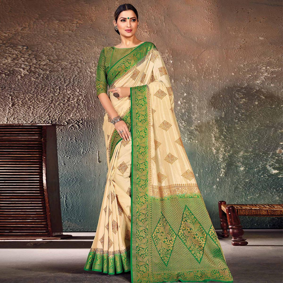 Charming Cream-Green Colored Festive Wear Woven Cotton Silk Saree