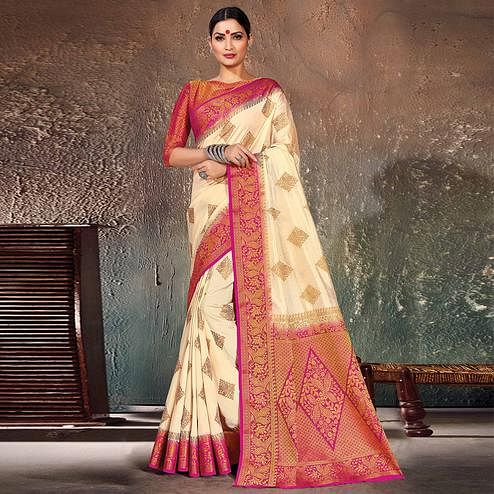 Jazzy Cream-Pink Colored Festive Wear Woven Cotton Silk Saree