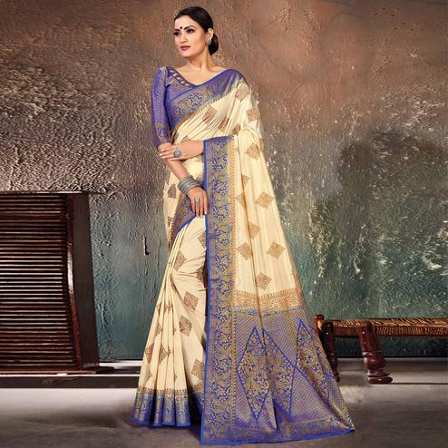 Delightful Cream-Blue Colored Festive Wear Woven Cotton Silk Saree