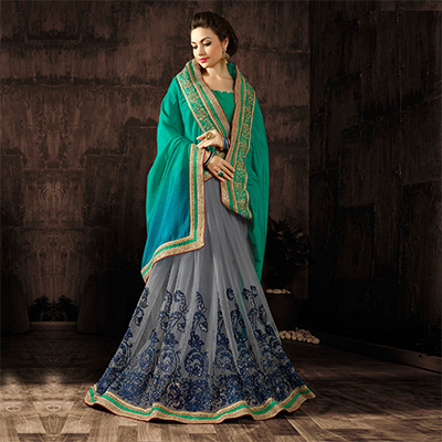 Attractive Green - Grey Heavy Embroidered Half and half Designer Saree