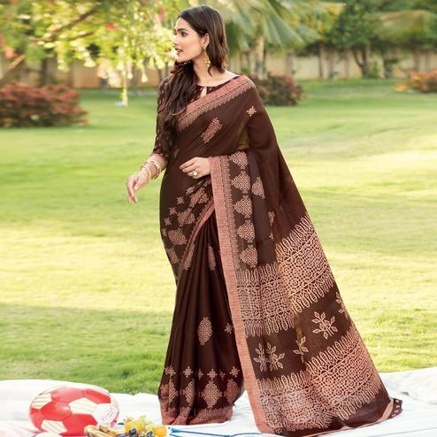 Ravishing Brown Colored Partywear Printed Kora Satin Saree