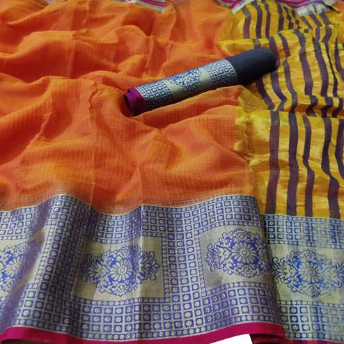 Lovely Orange Colored Festive Wear Woven Kota Doria Saree