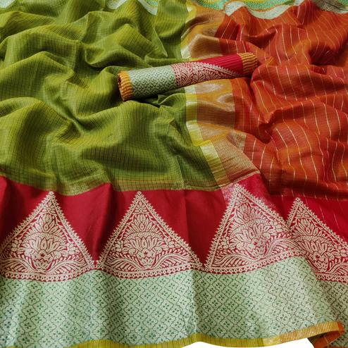 Breathtaking Green Colored Festive Wear Woven Kota Doria Saree
