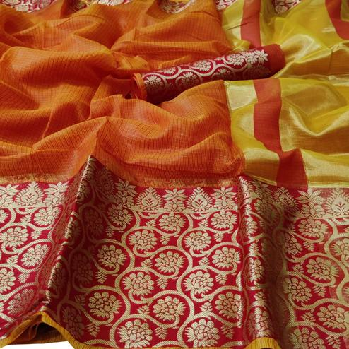Ravishing Orange Colored Festive Wear Woven Kota Doria Saree