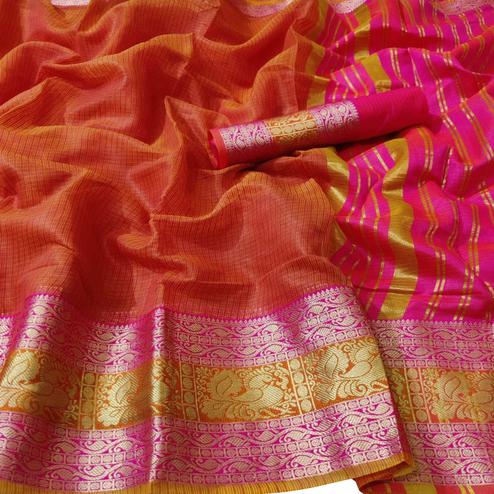 Staring Dark Peach Colored Festive Wear Woven Kota Doria Saree