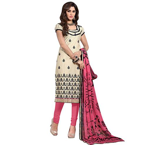 Beige - Pink Chanderi Suit