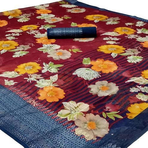 Flirty Maroon Colored Casual Wear Floral Printed Jacquard Saree