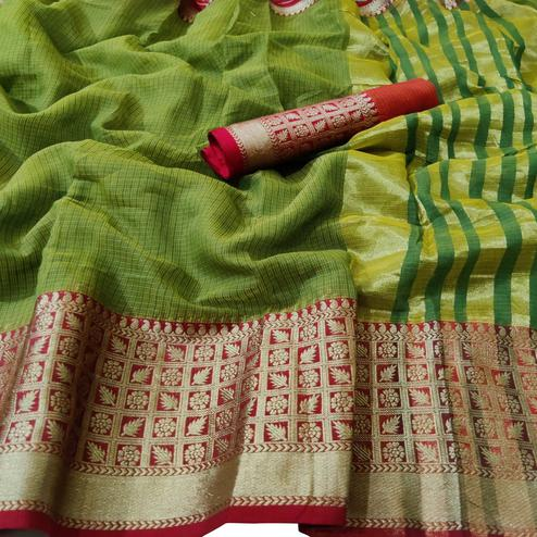 Unique Green Colored Festive Wear Woven Kota Doria Saree