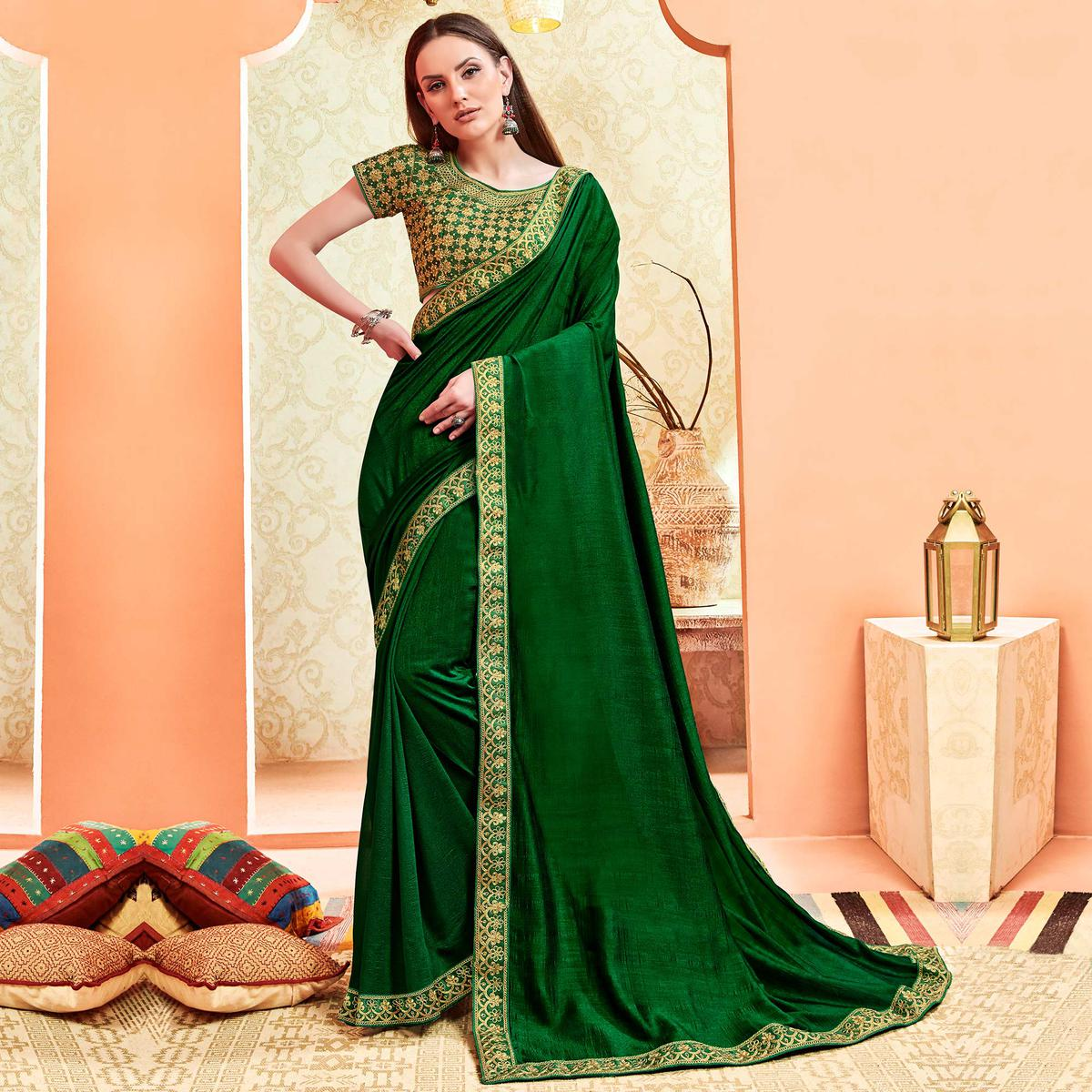 Desirable Green Colored Party Wear Embroidered Art Silk Saree With Stitched Blouse