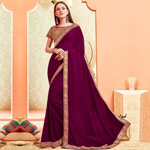 Exotic Maroon Colored Party Wear Embroidered Art Silk Saree With Stitched Blouse