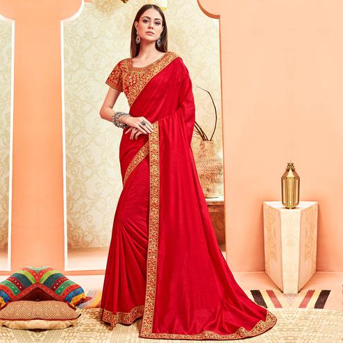 Trendy Red Colored Party Wear Embroidered Art Silk Saree With Stitched Blouse