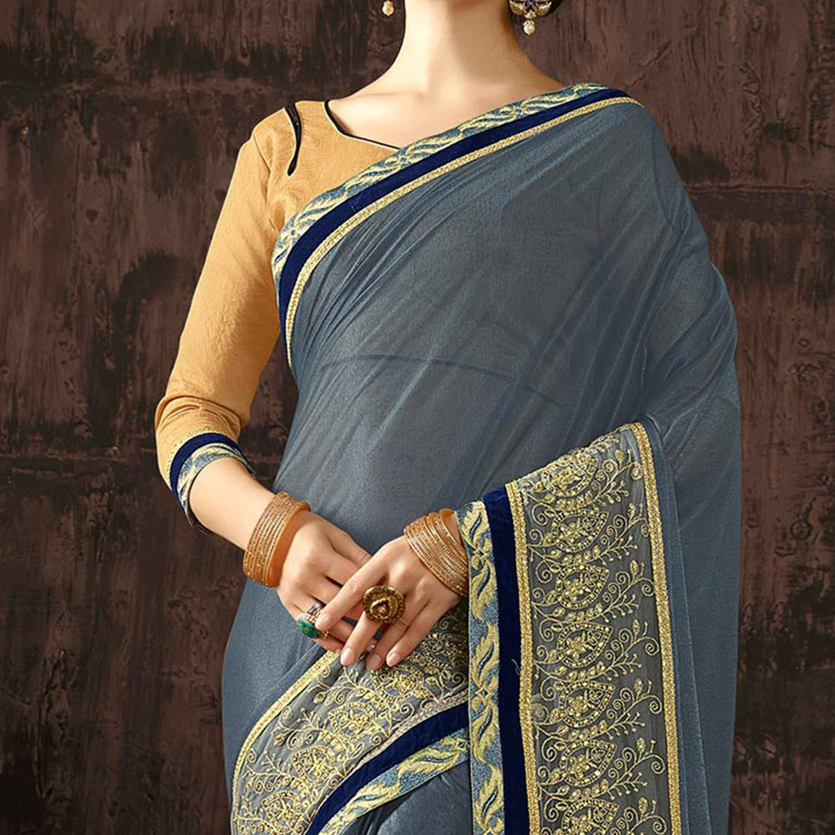 Graceful Grey Heavy Embroidered Border Work Saree