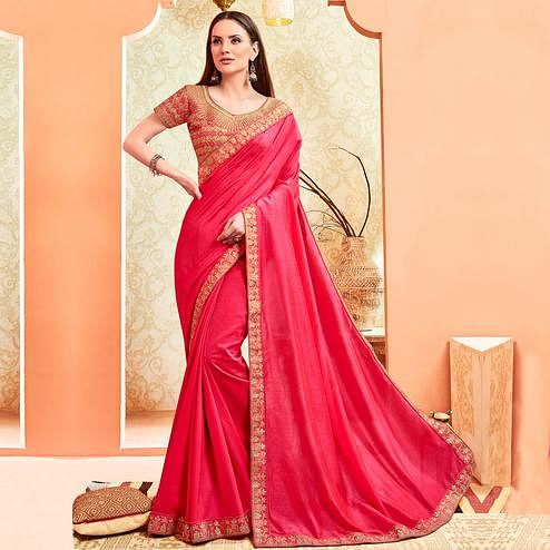 Elegant Pink Colored Party Wear Embroidered Art Silk Saree With Stitched Blouse