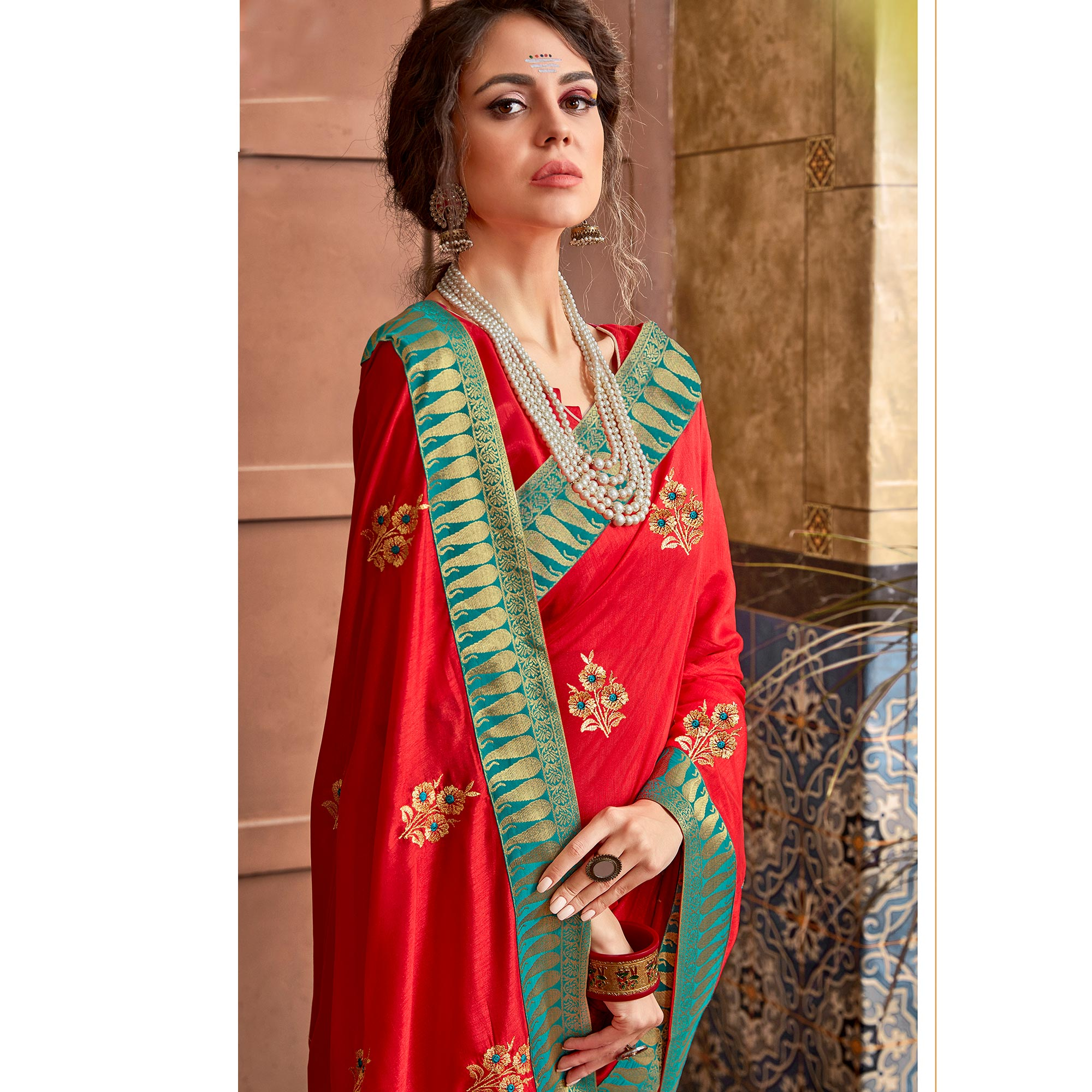 Intricate Red Colored Party Wear Embroidered Art Silk Saree