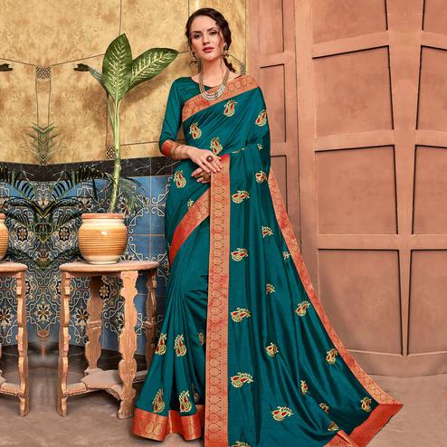 Arresting Teal Blue Colored Party Wear Embroidered Art Silk Saree