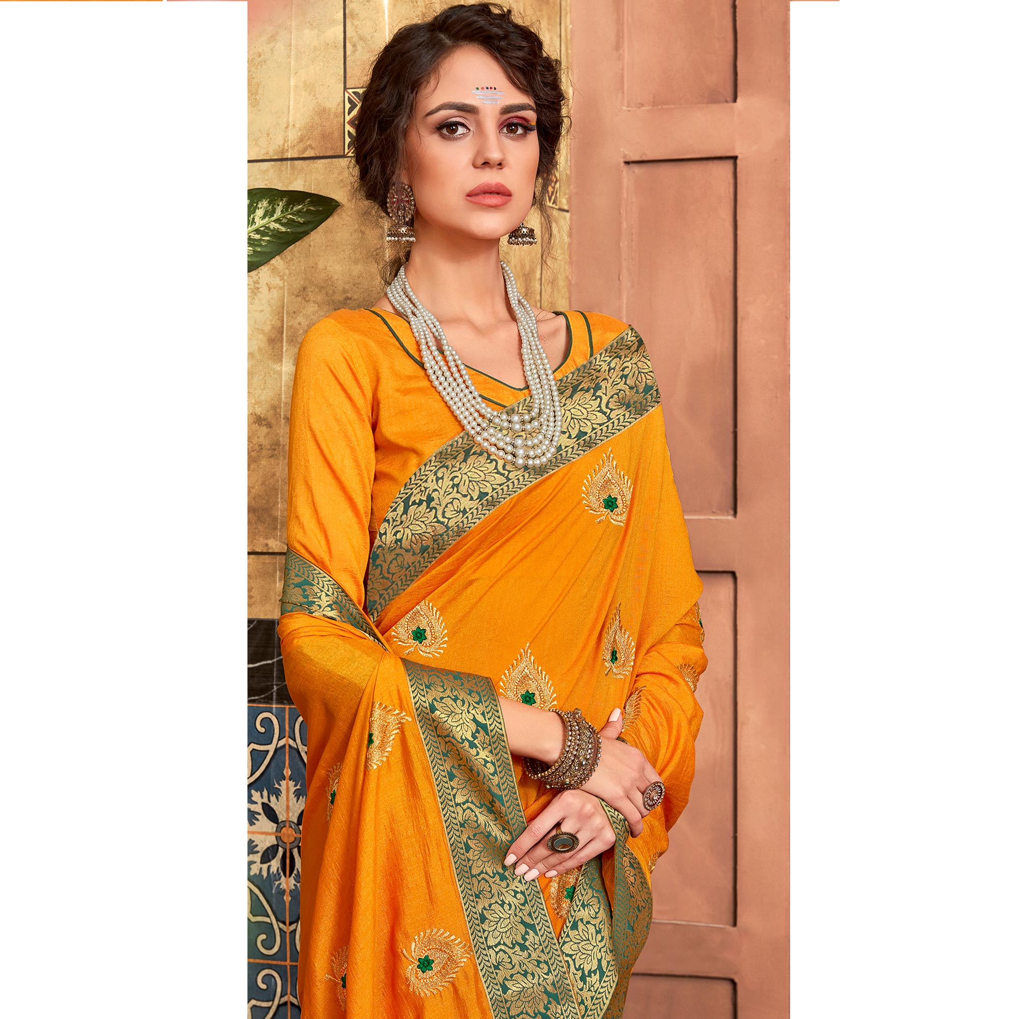 Desirable Yellow Colored Party Wear Embroidered Art Silk Saree