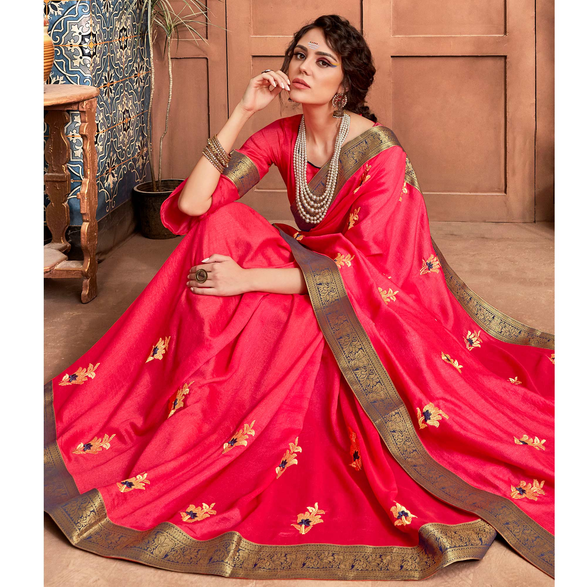 Exotic Pink Colored Party Wear Embroidered Art Silk Saree