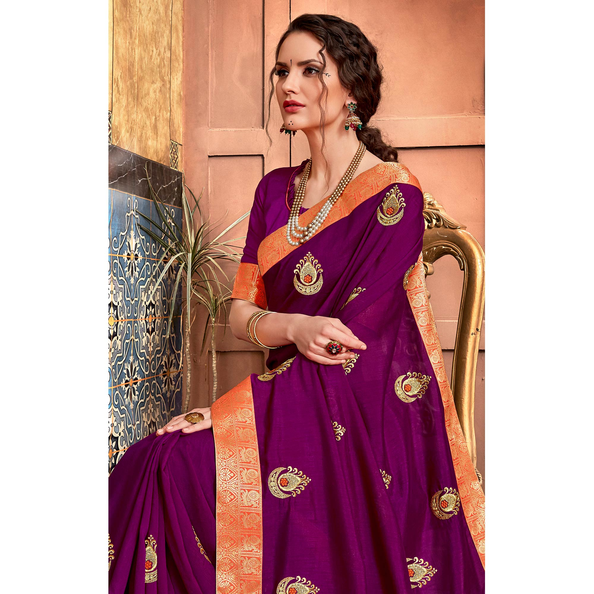 Elegant Purple Colored Party Wear Embroidered Art Silk Saree