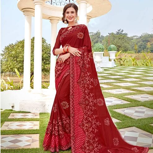 Refreshing Maroon Colored Party wear Embroidered Brasso Saree
