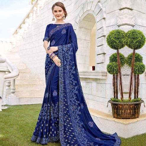 Magnetic Blue Colored Party wear Embroidered Brasso Saree
