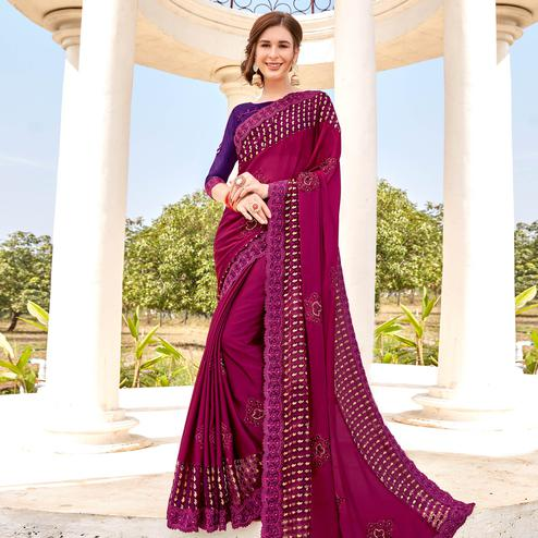 Excellent Magenta Pink Colored Party wear Embroidered Brasso Saree