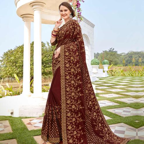 Marvellous Brown Colored Party wear Embroidered Brasso Saree