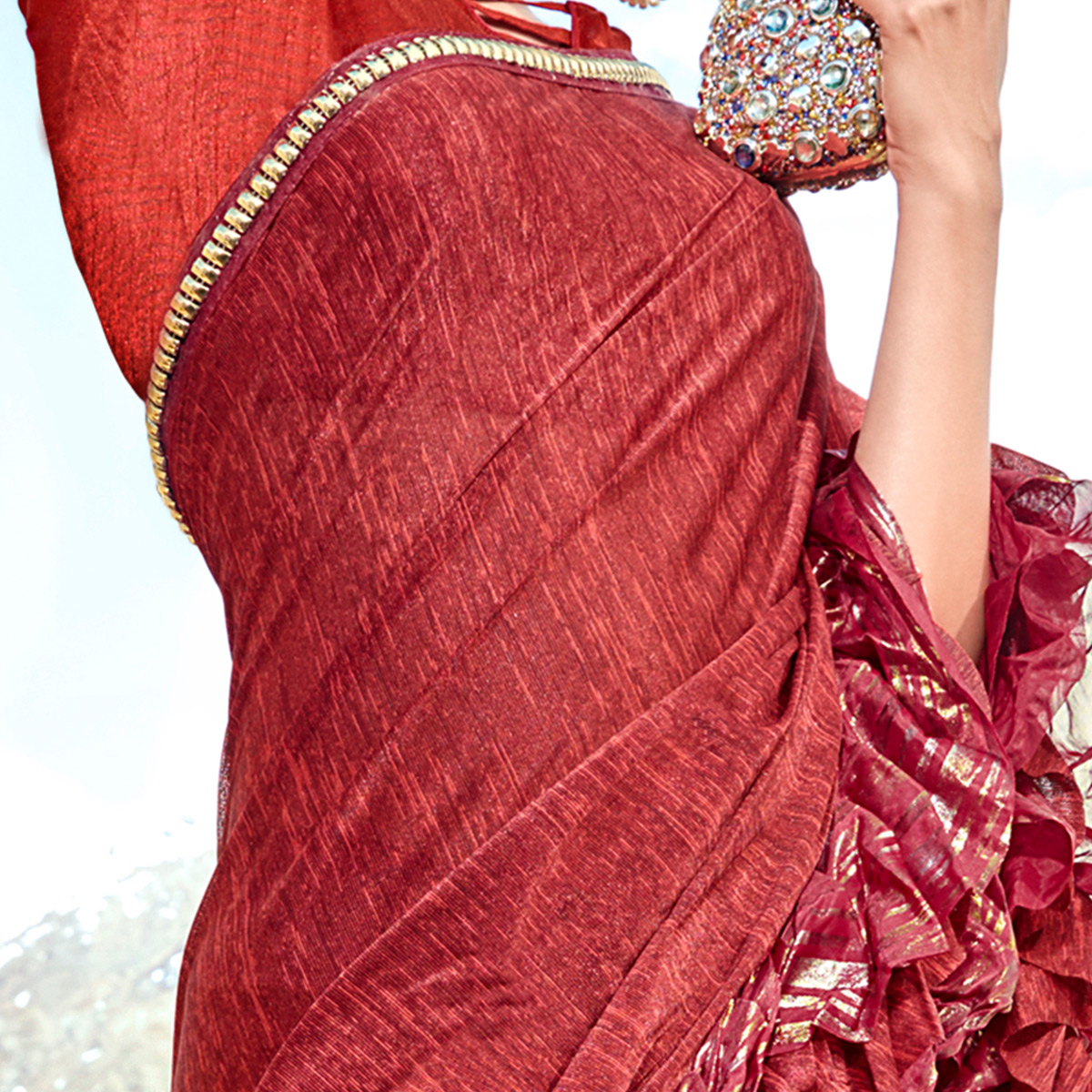 Demanding Red Colored Party Wear Printed Imported Lycra Saree