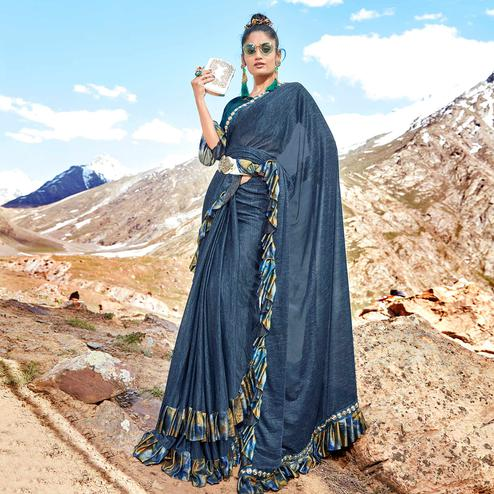 Ideal Blue Colored Party Wear Printed Imported Lycra Saree