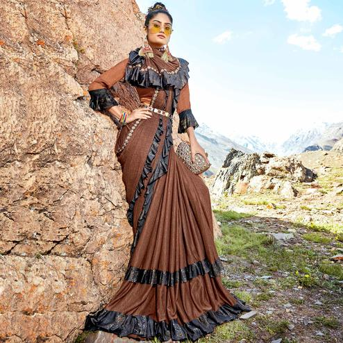 Imposing Brown Colored Party Wear Printed Imported Lycra Saree