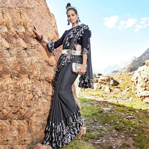 Lovely Grey Colored Party Wear Printed Imported Lycra Saree