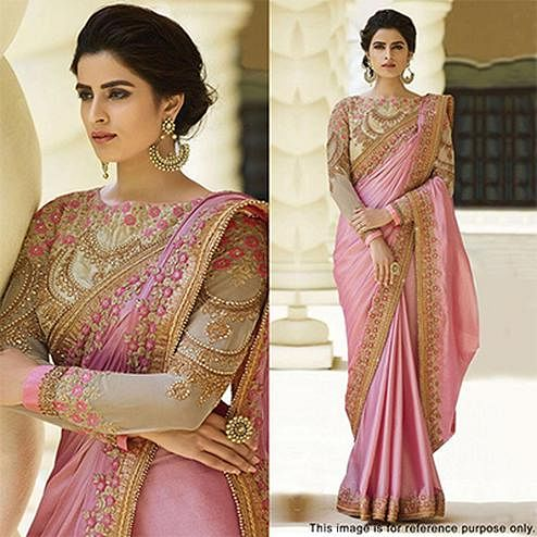 Beautiful Pink Designer Satin Silk Saree