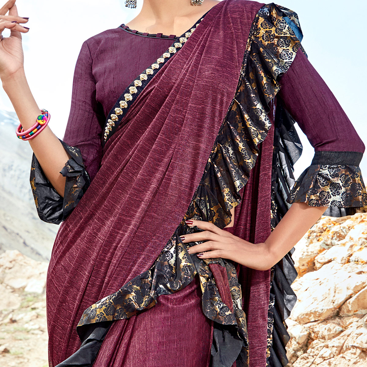 Majesty Wine Colored Party Wear Printed Imported Lycra Saree