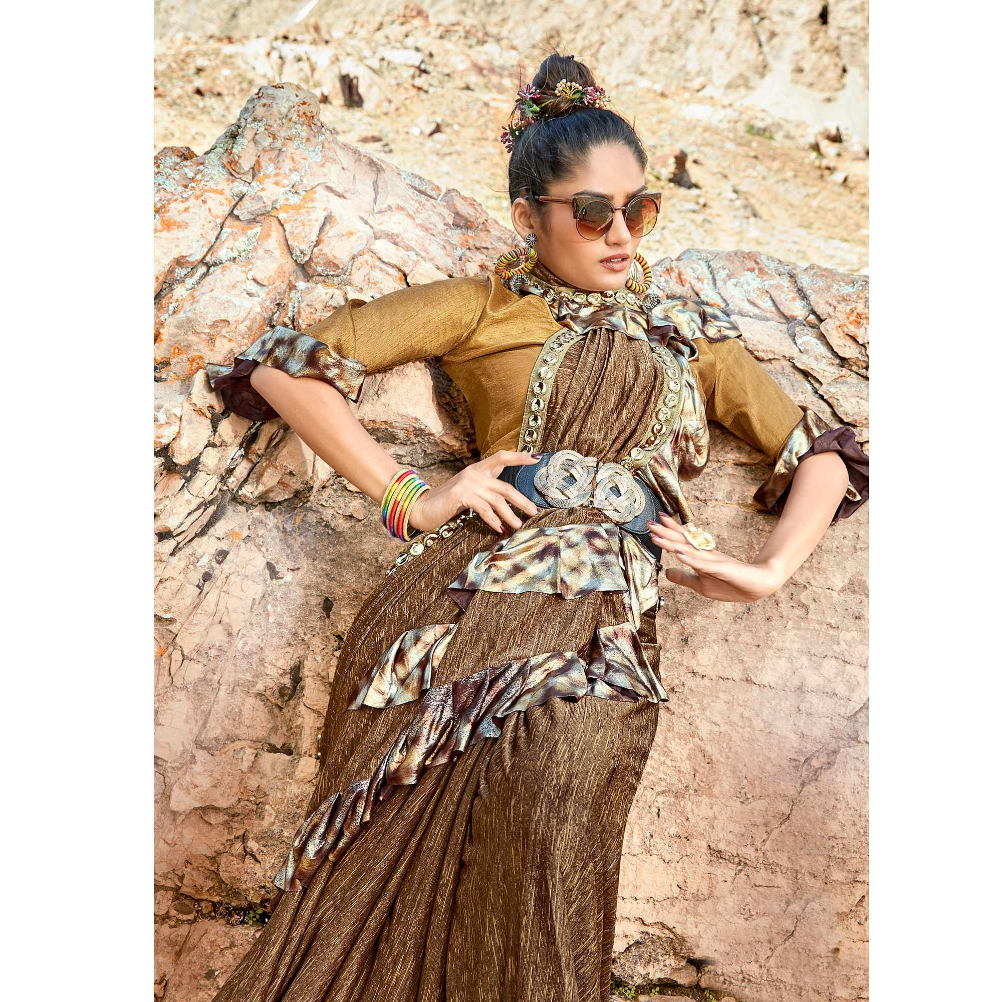 Impressive Beige Colored Party Wear Printed Imported Lycra Saree
