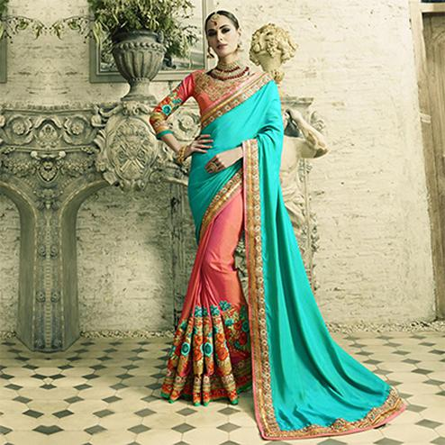 Lovely Gajri-Blue Designer Embroidered Silk Georgette Saree