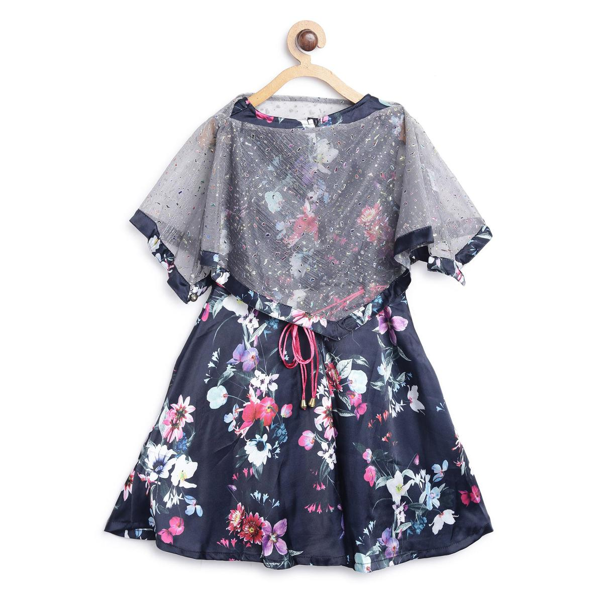 612 League - Navy Blue Colored 2 Pcs Printed Polyester Satin Cape Dress For Girls
